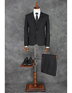 Suits Tailored Fit Peak Single Breasted One-button Polyester Solid 3 Pieces Black Straight Flapped