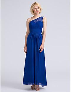 2017 Lanting bride® tornozelo de comprimento chiffon / vestido de dama de honra do laço - bainha / coluna de um ombro com rendas / ruching