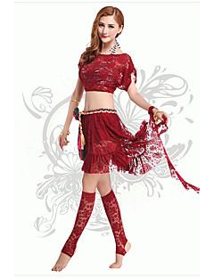 ריקוד בטן תלבושות בגדי ריקוד נשים ביצועים Chinlon / תחרה תחרה / אבנט / סרט 2 חלקיםשחור / סגול כהה / פוקסיה / כתום / סגול / אדום / כחול