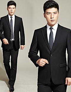 Suits Tailored Fit Notch Single Breasted Two-buttons Cotton Blend Solid 2 Pieces Black Straight Flapped None  BlackNone