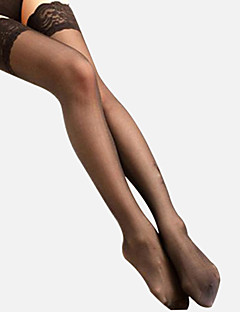 Women's White/Black/Nude 20 Denier Lace Stockings