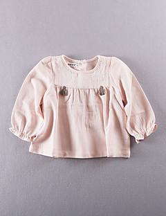 Mädchen T-Shirt-Lässig/Alltäglich einfarbig Baumwolle Sommer Rosa / Weiß