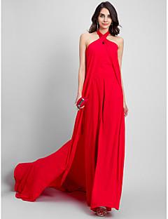 Sütun Boyundan Bağlamalı Uzun Kuyruk Şifon Resmi Akşam Elbise ile Pileler tarafından TS Couture®