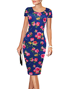 Women's Sexy / Simple / Street chic Floral Bodycon Dress,Round Neck Above Knee Polyester