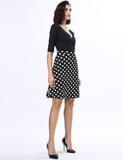 Women's Casual/Daily Plus Size Dress,Solid / Polka Dot V Neck Knee-length ½ Length Sleeve Black Polyester Fall