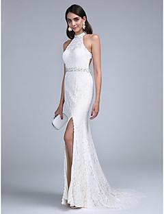 TS Couture® Evento Formal Vestido - Costas Lindas Tubinho Gola Alta Cauda Corte Renda com Miçangas / Detalhes em Cristal / Faixa / Fita