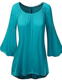 Vrouwen Street chic Lente Blouse,Casual/Dagelijks Effen Ronde hals Lange mouw Blauw / Roze / Rood Polyester Medium