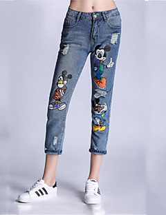 Kvinner Enkel Jeans Bukser Annet Mikroelastisk