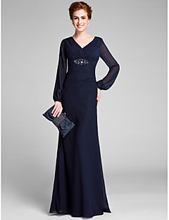 Sheath / Column Mother of the Bride Dress Floor-length Long Sleeve with Crystal Detailing / Criss Cross
