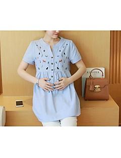 Maternity Round Neck Ruffle Shirt,Cotton Short Sleeve