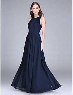 Lanting Bride® Floor-length Chiffon Bridesmaid Dress Sheath / Column Jewel with Lace