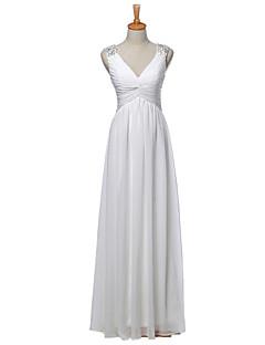 Sheath / Column Wedding Dress Floor-length V-neck Chiffon with Appliques