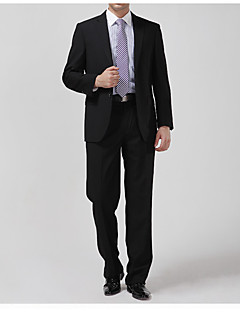 Suits Tailored Fit Notch Single Breasted Two-buttons Cotton Solid 2 Pieces Straight Flapped None (Flat Front)Black /