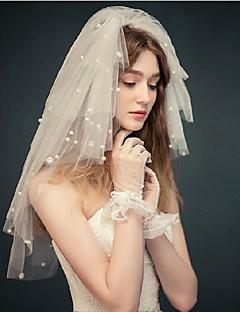Véus de Noiva Quatro Camadas Véu Ruge Véu Cotovelo Corte da borda Tule Branco Marfim