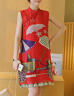 Maternity Casual/Daily Chinoiserie Shift Dress,Print Stand Above Knee Sleeveless Red Rayon Summer