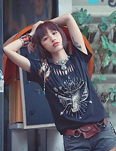 MizhenWomen's Patchwork Black T-shirt,Round Neck Short Sleeve