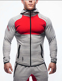Men's Long Sleeve Running Sweatshirt Hoodie Tops Breathable Comfortable Keep Warm Wearproof Spring Fall/Autumn Sports WearExercise &