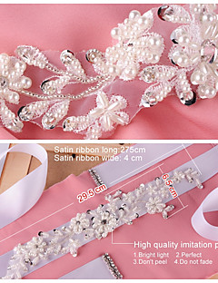Satin Wedding / Party/ Evening / Dailywear Sash-Beading / Appliques / Pearls / Rhinestone Women's 98 ½in(250cm)Beading / Appliques /