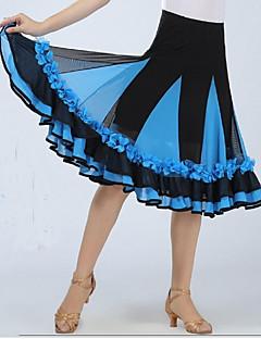 Dança de Salão Fundos Mulheres Actuação Elastano Apliques / Pano 1 Peça Sem Mangas Caído Saia 64CM