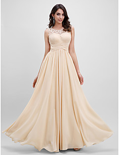 TS Couture® Formal Evening Dress A-line Scoop Floor-length Chiffon with Flower(s) / Draping / Criss Cross