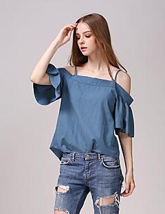 Mulheres Blusa Casual Moda de Rua Verão,Sólido Azul Algodão Com Alças Manga ¾ Média