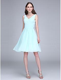 Short / Mini Chiffon Bridesmaid Dress - Sheath / Column V-neck with Draping / Criss Cross
