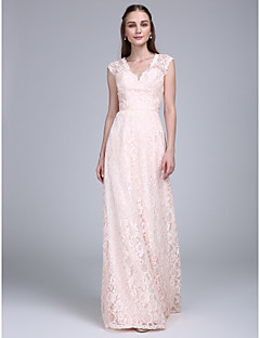 2017 Lanting Bride® Floor-length Lace Bridesmaid Dress - Sheath / Column V-neck with