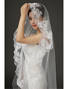 Wedding Veil One-tier Cathedral Veils Lace Applique Edge Tulle Lace White
