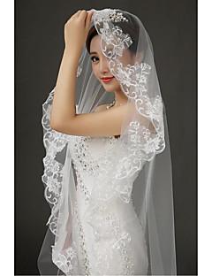 הינומות חתונה שכבה אחת צעיפי קתדרלה אפליקצית קצה תחרה טול תחרה לבן