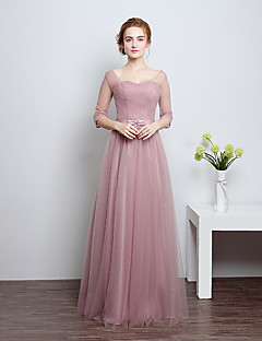 Floor-length Satin / Tulle Bridesmaid Dress Sheath / Column Scoop with Bow(s)