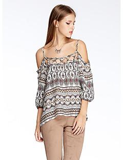 Kortærmet Med stropper Tynd Hvid Blomstret Sommer Simpel I-byen-tøj T-shirt,Polyester