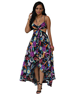 Women's Print Boho Vintage Hollow Out Backless Sexy Beach Pleated Plus Size Sheath Dress,Strap Midi