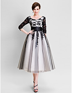 A-line Mother of the Bride Dress - Color Block Tea-length 3/4 Length Sleeve Tulle with Appliques Sash / Ribbon