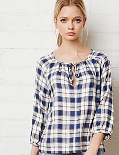 משובץ צווארון עגול פשוטה יום יומי\קז'ואל חולצה נשים,קיץ / סתיו אורך שרוול ¾ כחול אטום פוליאסטר