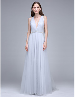 LAN TING BRIDE Sweep / Brush Train V-neck Bridesmaid Dress - Beautiful Back Sleeveless Tulle