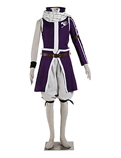 Inspired by Fairy Tail Natsu Dragneel Anime Cosplay Costumes Cosplay Suits Color Block Purple Top / Skirt / Shorts