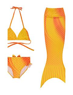 Pigens Badetøj Polyester Ensfarvet Strand Sommer Orange