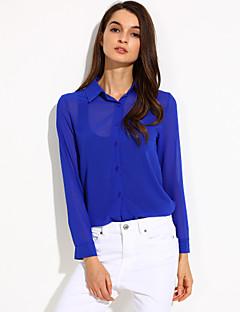 여성의 솔리드 셔츠 카라 긴 소매 셔츠,심플 캐쥬얼/데일리 블루 / 레드 / 화이트 / 블랙 폴리에스테르 봄 / 여름 / 가을 얇음