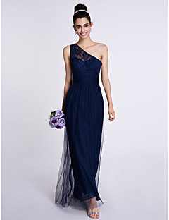 Ankle-length Lace / Tulle Bridesmaid Dress Sheath / Column One Shoulder with Lace