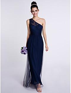 2017 Lanting bride® kotník-délka krajka / tyl družička šaty - plášť / sloup jedno rameno s krajkou