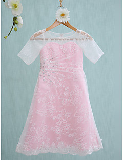 Lanting Bride® Knee-length Lace Junior Bridesmaid Dress Sheath / Column Jewel with Beading