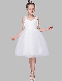 גזרת A באורך  הברך שמלה לנערת הפרחים - סאטן / טול ללא שרוולים רצועות עם