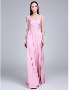 Lanting Bride® Floor-length Jersey Bridesmaid Dress Sheath / Column Straps with Criss Cross / Ruching