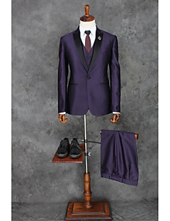 Suits Tailored Fit Peak Single Breasted One-button Polyester Solid 3 Pieces Purple Straight Piped