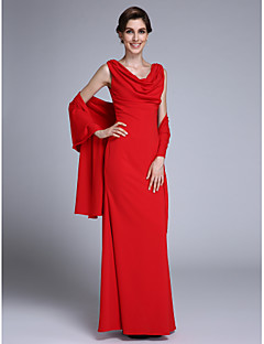 LAN TING BRIDE 트럼펫 / 머메이드 신부 어머니 드레스 - 랩 포함 바닥 길이 민소매 쉬폰 - 주름
