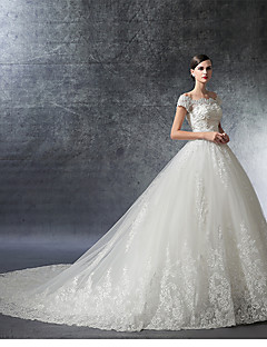 A-line Wedding Dress Floral Lace Cathedral Train Off-the-shoulder Satin Tulle with Ruffle Appliques Beading Crystal