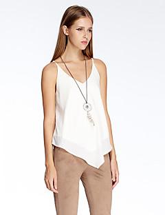 heartsoul kvinders gå ud simpel sommer tank top, solid v hals ærmeløs hvid polyester tynd