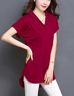 여성의 솔리드 V 넥 짧은 소매 티셔츠,플러스 사이즈 / 심플 캐쥬얼/데일리 레드 / 블랙 / 그린 면 / 스판덱스 여름 얇음