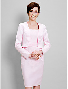 여성 숄 볼레로 긴 소매 사틴 핑크 웨딩 / 파티/이브닝 넓은 칼라 39cm 레이스 오픈 프론트