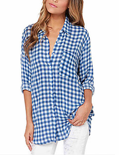 Women's Casual/Daily Street chic All Seasons Shirt,Plaid Shirt Collar Long Sleeve Blue Polyester Thin